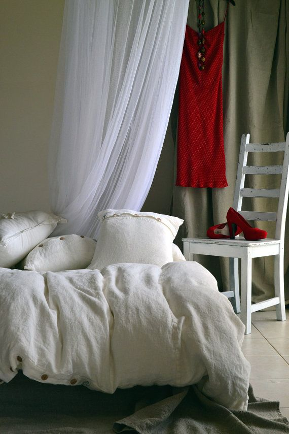 Heavy weight linen duvet cover. Ivory Rustic Rough stonewashed linen. Handmade linen bedding. King, Queen and Custom sizes available.