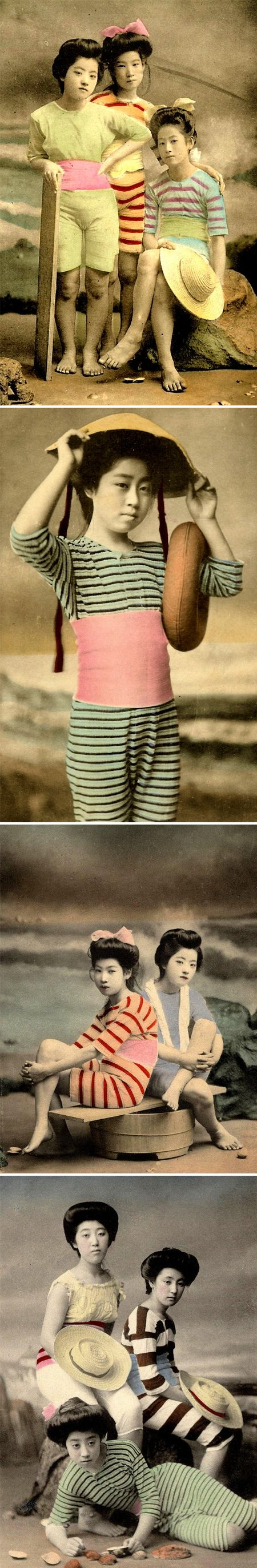 photographs from the early 1900's. During the Meiji and Taisho Eras of Old Japan, photographing Geishas in swimwear was all the rage. Stripes, hits of candy-hues, fancy up-do's…     For most of them, the identity of the photographers and models remain UNKNOWN -- a situation common to all categories of old Japanese postcards.---------The colors!