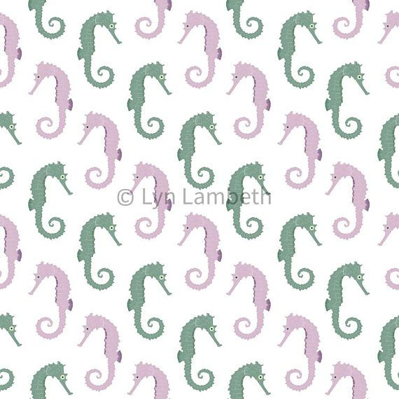 Seahorse digital paper, instant download, repeating pattern ideal for scrapbook paper