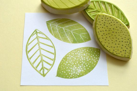 Three leaf hand carved rubber stamp set, hand carved pattern ...