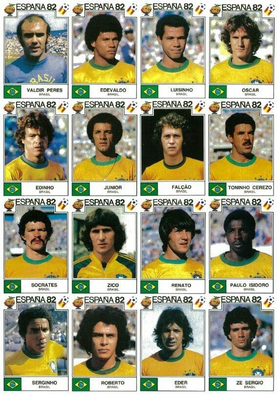Brazil team stickers for the 1982 World Cup Finals.