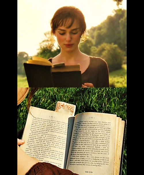 """At the beginning of the movie, Elizabeth is shown reading a novel titled """"First Impressions"""", this was Jane Austen´s original title of her novel before she altered it to """"Pride and Prejudice"""". Additionally the text of the visible pages is readable when paused (see the pic in High-res); it is the last chapter of Pride and Prejudice, with names changed."""