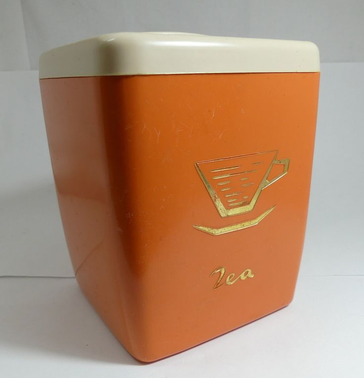 Tea Caddy Tea Canister Retro Kitchenware Vintage Kitchen Storage Burnt Orange Plastic Container Mid Century Modern Storage Container Tea Box by SuesUpcyclednVintage on Etsy