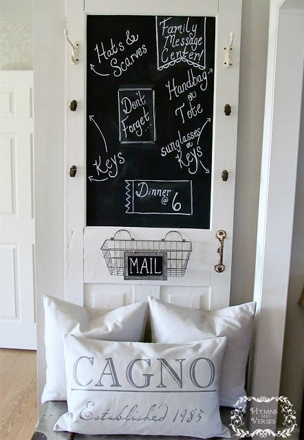 I officially need a white door... stat! / Old Door Family Message Center with Chalkboard, Mail Basket, Caster Wheel Hooks.
