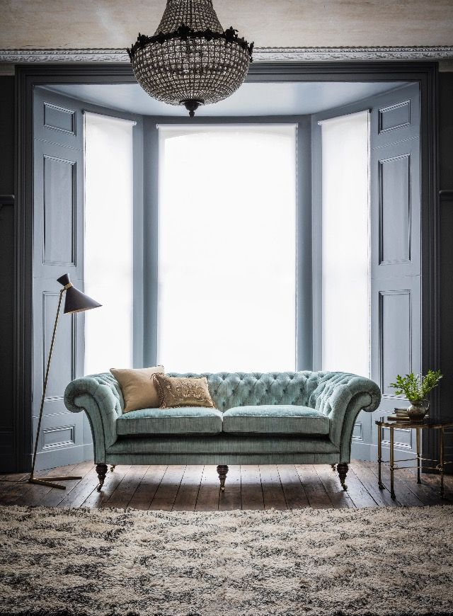 Did you know the original Chesterfield sofa is believed to originate from one commissioned circa 1830 by Philip Stanhope, the 4th Earl of Chesterfield. This exquisite sofa design is the Grenville a timeless classic from our luxury furniture collection. Pictured here in Como Silk Velvet, Teal (green/blue).
