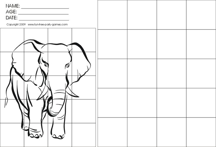 Grid Drawing Worksheets | Drawing-with-Grids Activity: Walking Elephant by Fun Free Party Games