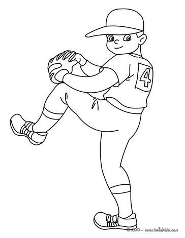 Color This Kid Baseball Pitcher Coloring Page More Sports Pages On Hellokids