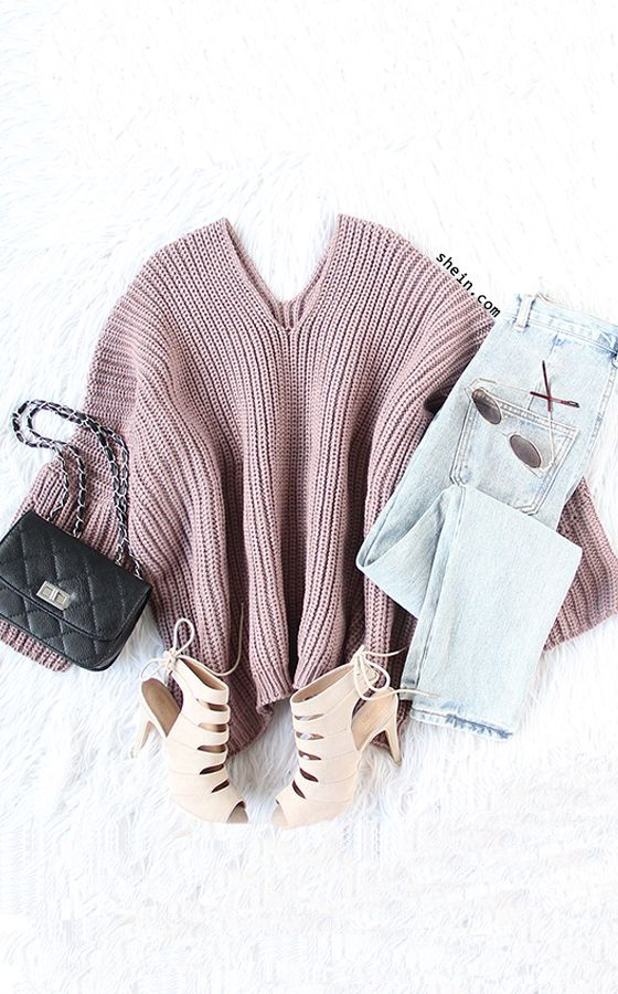 Cozy winter style- Pink v neck drop shoulder oversized sweater outfit.