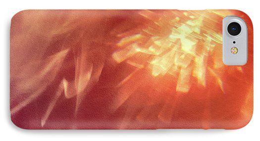 Jane Star IPhone 7 Case featuring the photograph Orange Sunset by Jane Star  #JaneStar #IPhoneCase #Abstract #Orange #GlassGlare