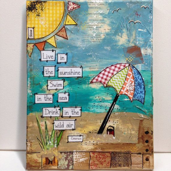 "9x12 mixed media beach canvas "" live in the sunshine, swim in the sea, drink in the wild air- Emerson"" on Etsy, $55.00"