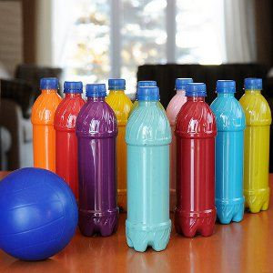Plastic Bottle Bowling- Don't let the drizzle get you down! These rainy day crafts will be a ten-pin strike!
