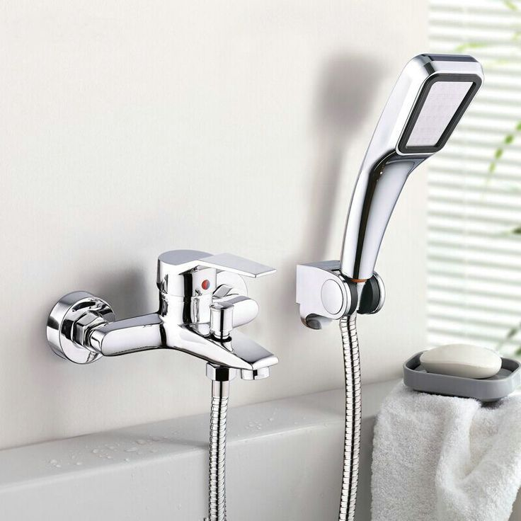 Wall Mounted Bathroom Faucet Bath Tub Mixer Tap With Hand Shower Head Shower Faucet alishoppbrasil