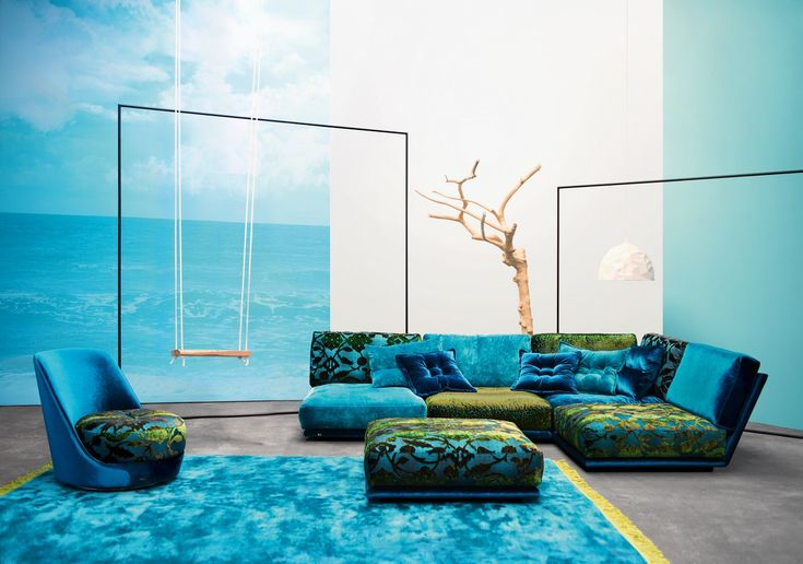 NAPALI modular lounge. Turquoise blue upholstery. Made in Germany. BRETZ store in Sydney, Australia