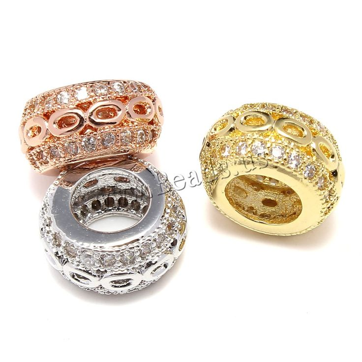 Cubic Zirconia Micro Pave Brass European Bead, Rondelle, plated, micro pave cubic zirconia & large hole, more colors for choice, lead & cadmium free