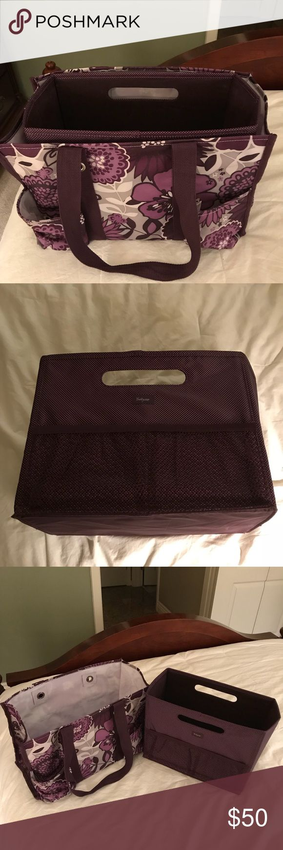 Thirty One Tote Bag with Insert - Purple & White Thirty One Tote Bag with Insert - Purple & White Thirty One Bags Totes