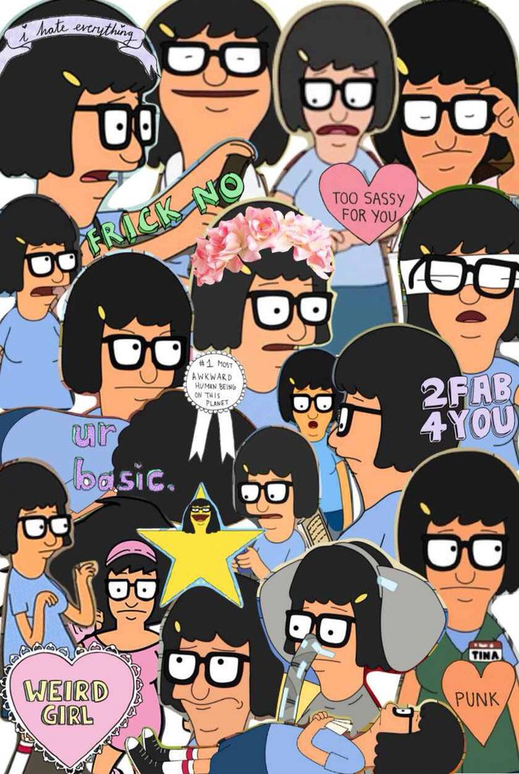 """who made this collage of Tina Belcher... i love it>> Except that some of the labels like """"punk"""" don't really fit her (other than that I love it)"""