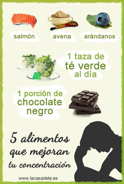 Cinco alimentos que mejoran tu concentración. Ayuda exámenes, cansancio trabajo
