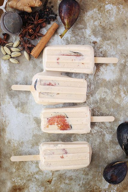 [ Recipe: Chai Spiced Coconut Fig Popsicles ] made with; organic full-fat coconut milk, organic natural cane sugar, organic black tea (loose leaf), cinnamon stick, star anise pods, ginger (fresh), peppercorns, cloves, cardamom, vanilla extract, figs, and salt. ~ from Tasty-Yummies