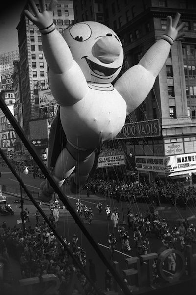 """Vintage New York City prints. Macy's Thanksgiving Day Parade. Super Hero float. NYC. Looks like the float is saying, """"Hey everybody!"""""""