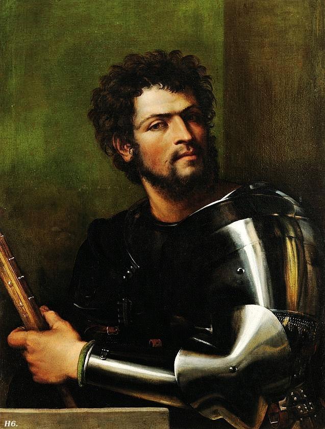 [Renaissance]] Portrait of a man in armor. 1512. Sebastiano del Piombo.