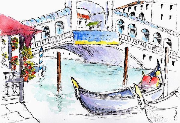 Rialto Bridge, Venice.    Pen and  Watercolour wash study.