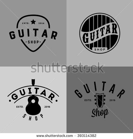 Retro styled guitar shop logos - stock vector