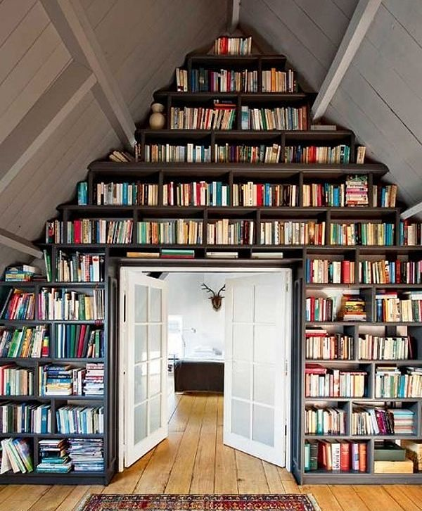 cool: Ladder, Bookshelves, Idea, Home Libraries, Attic Spaces, Books Shelves, Attic Libraries, Books Wall, House