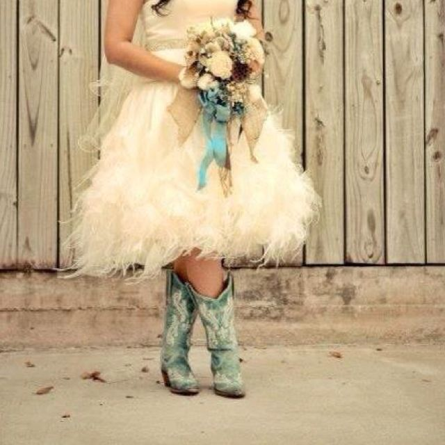 Short fluffy wedding dress with teal cowgirl boots now for Wedding dress with boots