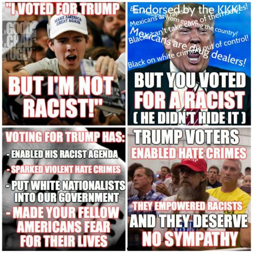"Trump Violent, Racist Supporters and Trumps ""Silent Secret Majority aka Undercover Racist"" are just as much to blame for the Hate Crimes sweeping the Nation as Trump Himself."