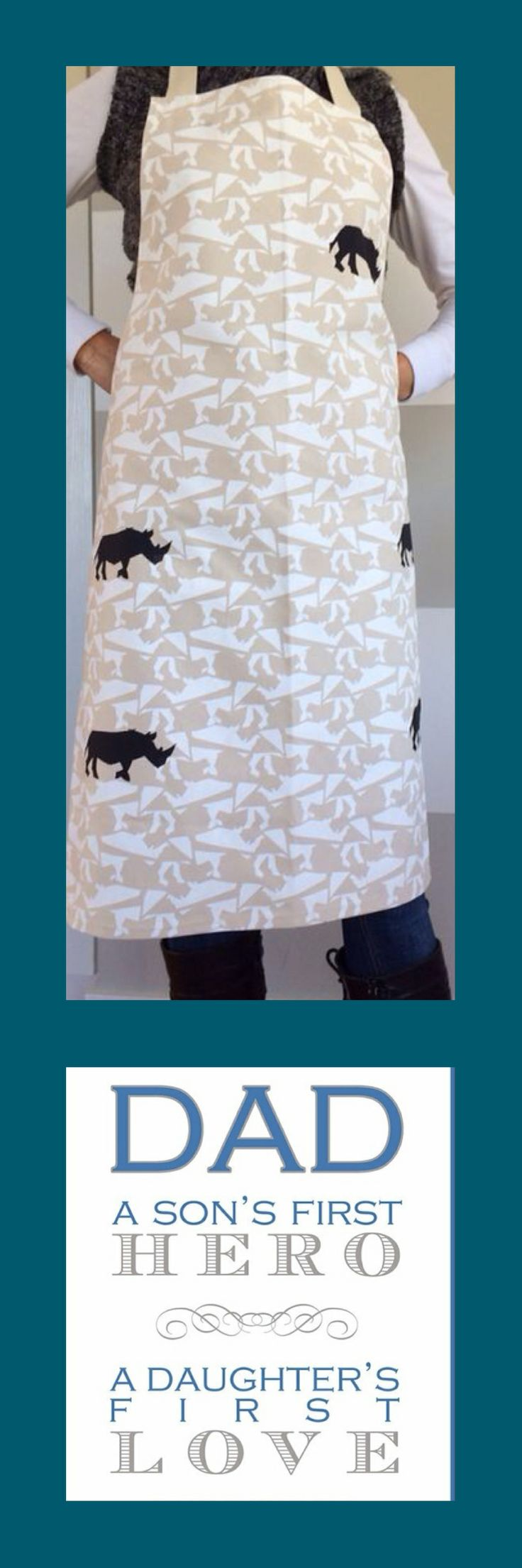 Fathers Day Aprons available @ eCo, 196 Main Rd, Walmer, Port Elizabeth, South Africa - SuzieQu Bespoke Rhino print