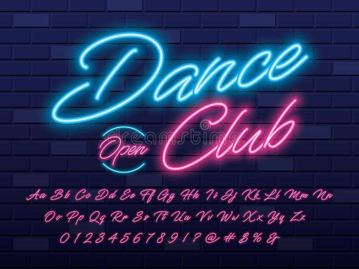 Neon light font stock vector. Illustration of cursive