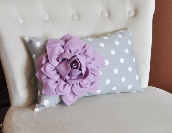 Decorative Lumbar Pillow Lilac Dahlia on Gray and White Polka Dot Lumbar Pillow 9 x 16 on Etsy, $33.00