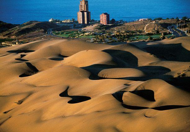 Champs de dunes bordant la ville de Concon, Chile