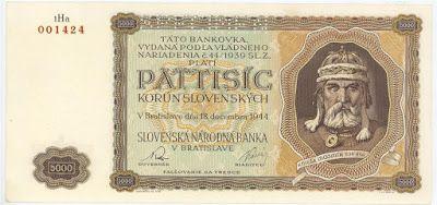 Slovakia currency 5000 Slovak koruna banknote of 1944, issued by the National Bank of Slovakia  - Slovenska Národná banka. Slovakian banknotes, Slovakian paper money, Slovakian bank notes, Slovakia banknotes, Slovakia paper money, Slovakia bank notes.  Obverse: Portrait of Mojmír I, Prince of Great Moravia.