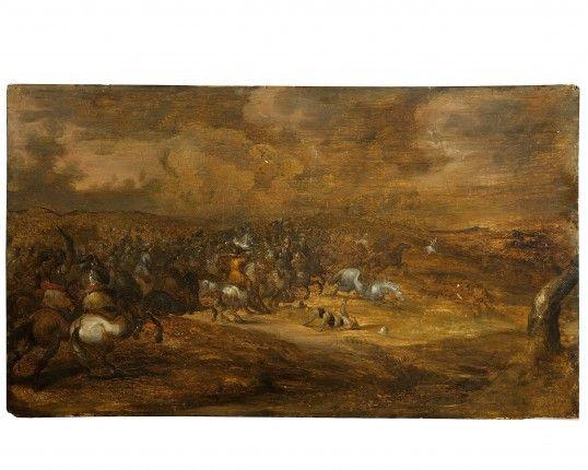 Scena di battaglia Maestro Fiammingo Sec XVII-XVIII