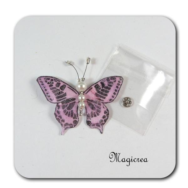 PAPILLON PRESSION 5 CM ROSE - Boutique www.magicreation.fr