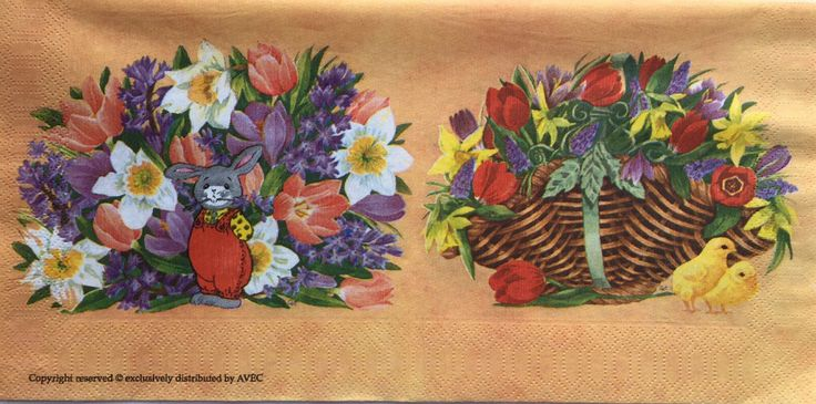 Rare single(one)Avec napkin Flowers& Rabbit for collectie,decoupage ,decoupage under glass,scrapbooking and other art and crafts door Dalilasdecoupage op Etsy