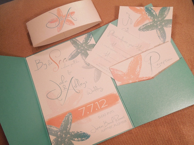 By the Sea Starfish Wedding Invitation by ShannonFrezzaInvites