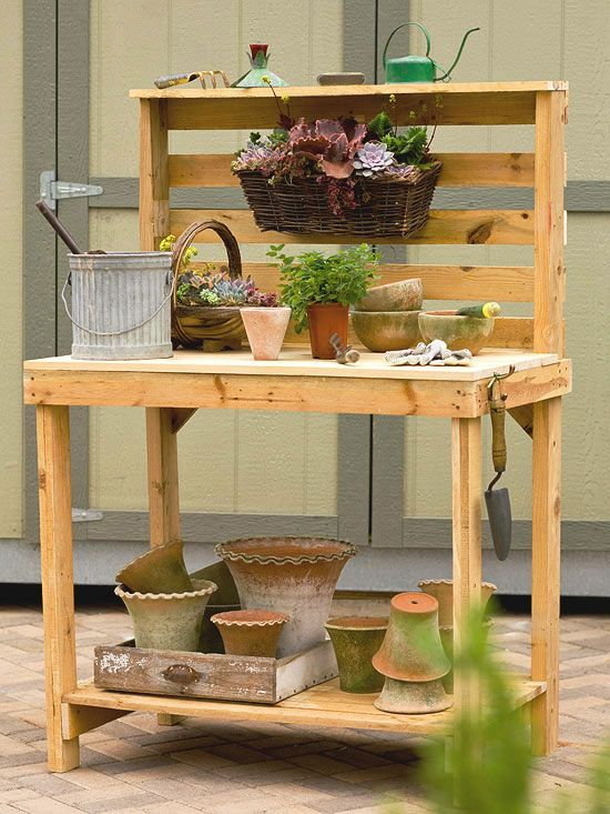 Make Your Own Potting Bench Instead of burning old wooden pallets or tossing them into a landfill, follow our step-by-step instructions to transform one or two pallets into a beautiful and functional potting bench.
