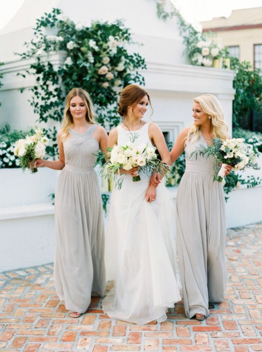 Light grey dresses with off-white/cream colored flowers – beautiful color scheme