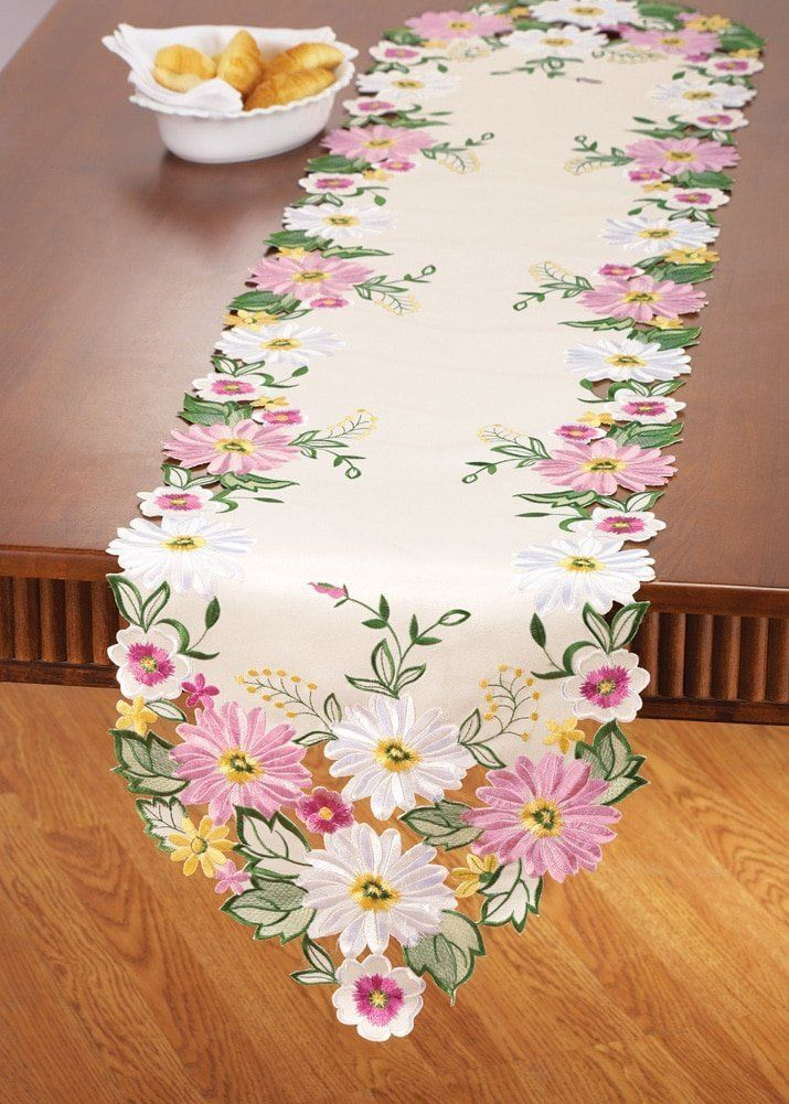 Embroidered Floral Gerbera Daisy Table Linens, Runner