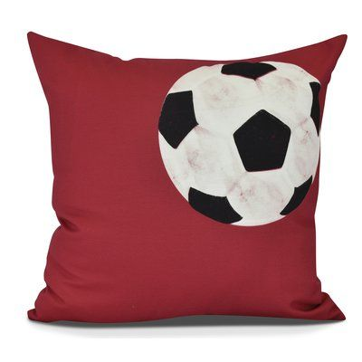 "Zoomie Kids Bauer Soccer Ball Geometric Throw Pillow Color: Red, Size: 20"" H x 20"" W"