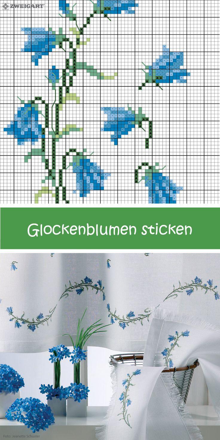 Blaue Glockenblumen auf Gardinen und Co. sticken #Sticken #Kreuzstich / #Blume; #Embroidery #Crossstitch / #flower / #ZWEIGART
