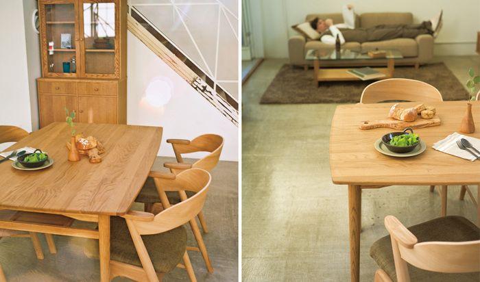 横幅が5cmごとに注文ができ、天板と脚の組み合わせも選ぶことができるのもモモナチュラルのダイニングテーブルの特徴です。テーブルにあわせてイスもオーダーして作ることができるので、あなただけのオリジナルのダイニングセットを作ることもできます。
