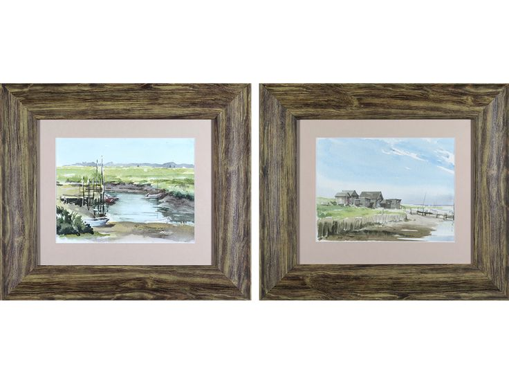'Walberswick, Suffolk Estuary Landscapes' (Pair) by Mary Gundry. Original watercolours.