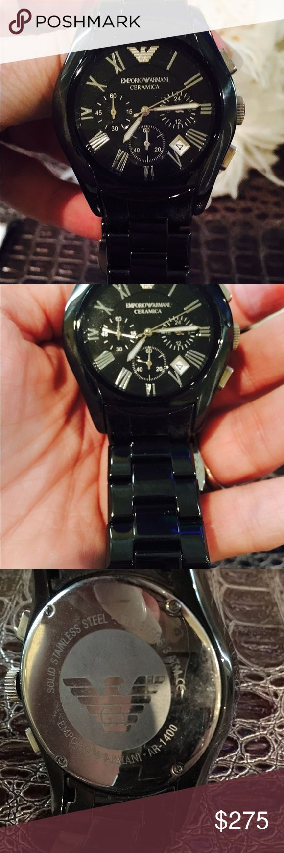 Armani mans ceramic watch Almost brand new condition AR 1400 Armani Accessories Watches