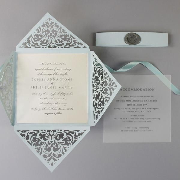 Dusty Blue Wax Seal Laser Cut Lace Pocketfold Wedding Invitation
