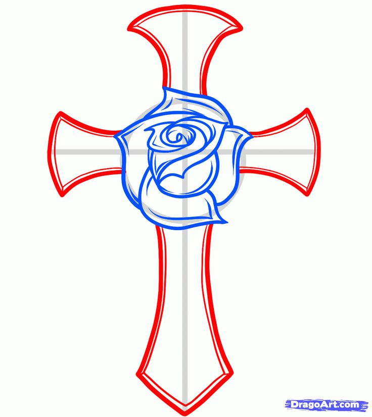 Tattoo Ideas Easy To Draw: How To Draw A Rose And Cross