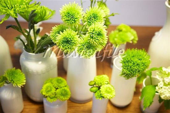 Love all these green flowers!  Great clustering with the lime green flowers and all white vases