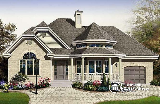 2 bedroom #Victorian with charming family room and garage (plan no. 2294-V1) >>> http://www.drummondhouseplans.com/house-plan-detail/info/1002956.html #traditional #houseplan #home